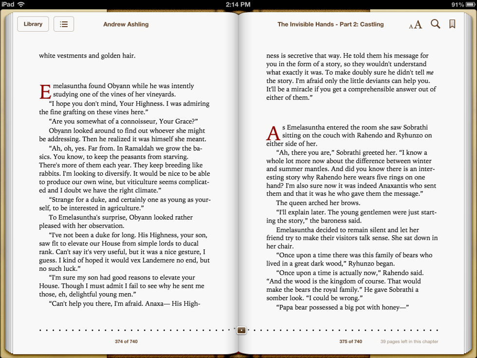 Screenshot taken on iPad of pages 374 & 375 of Dark Tales of Randamor the Recluse - Book 5, The Invisible Hands - Part 2: Castling by Andrew Ashling